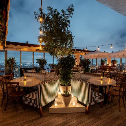 The outdoor dining area of Harriet's Rooftop at night