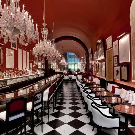 The lavishly decorated bar at Baccarat Hotel