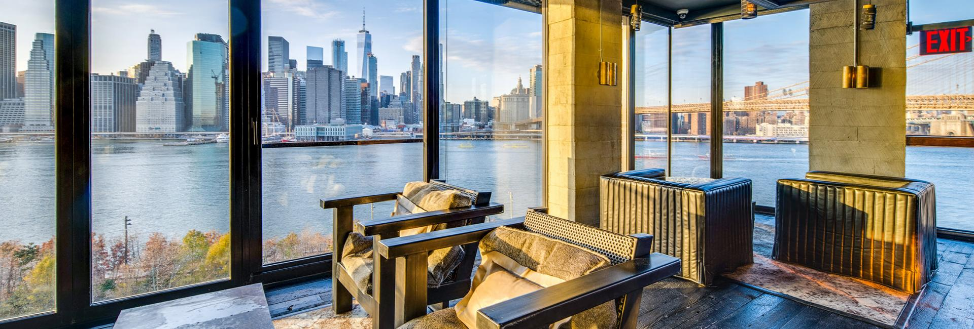 A view of the Manhattan skyline from the Brooklyn Heights Social Club