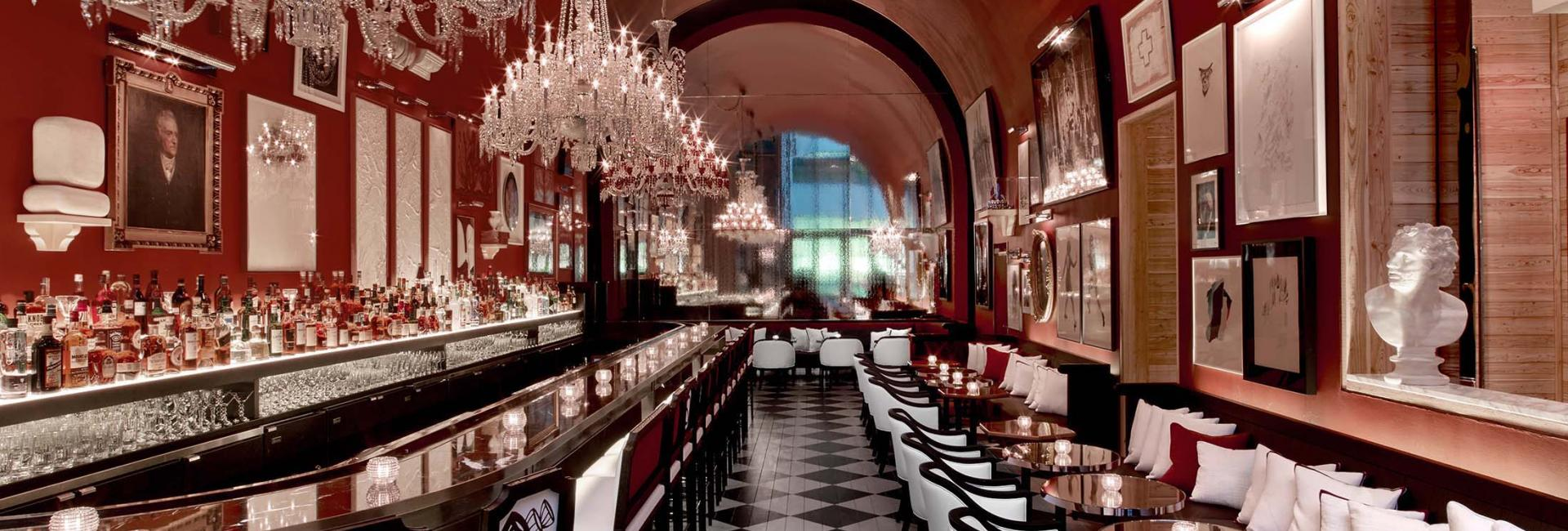 The lavishly decorated bar at Baccarat Hotel