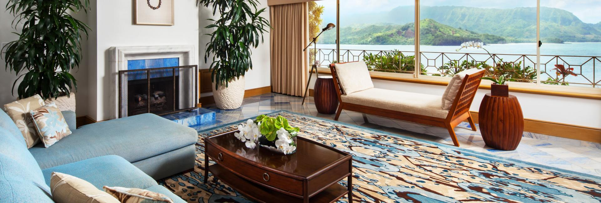 The living area of the presidential suite at Princeville Resort