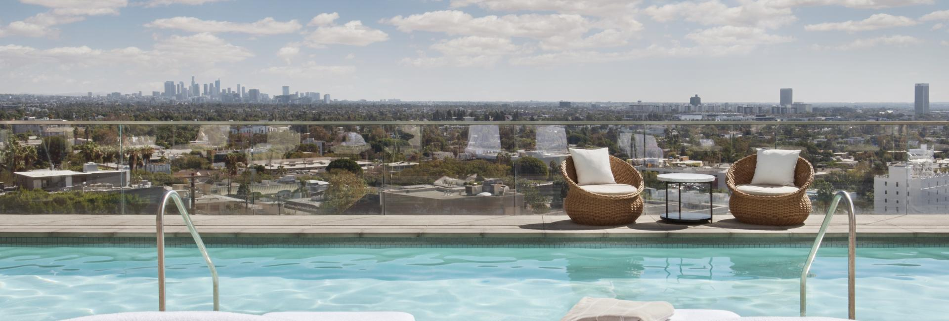 pool chairs overlooking west hollywood
