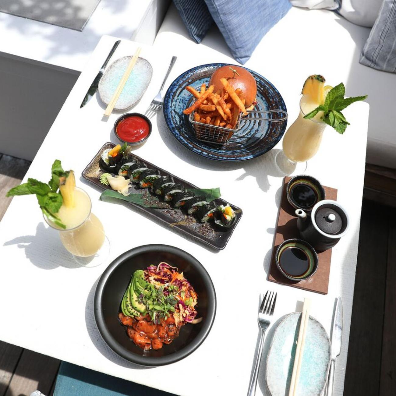 table of food on rooftop deck